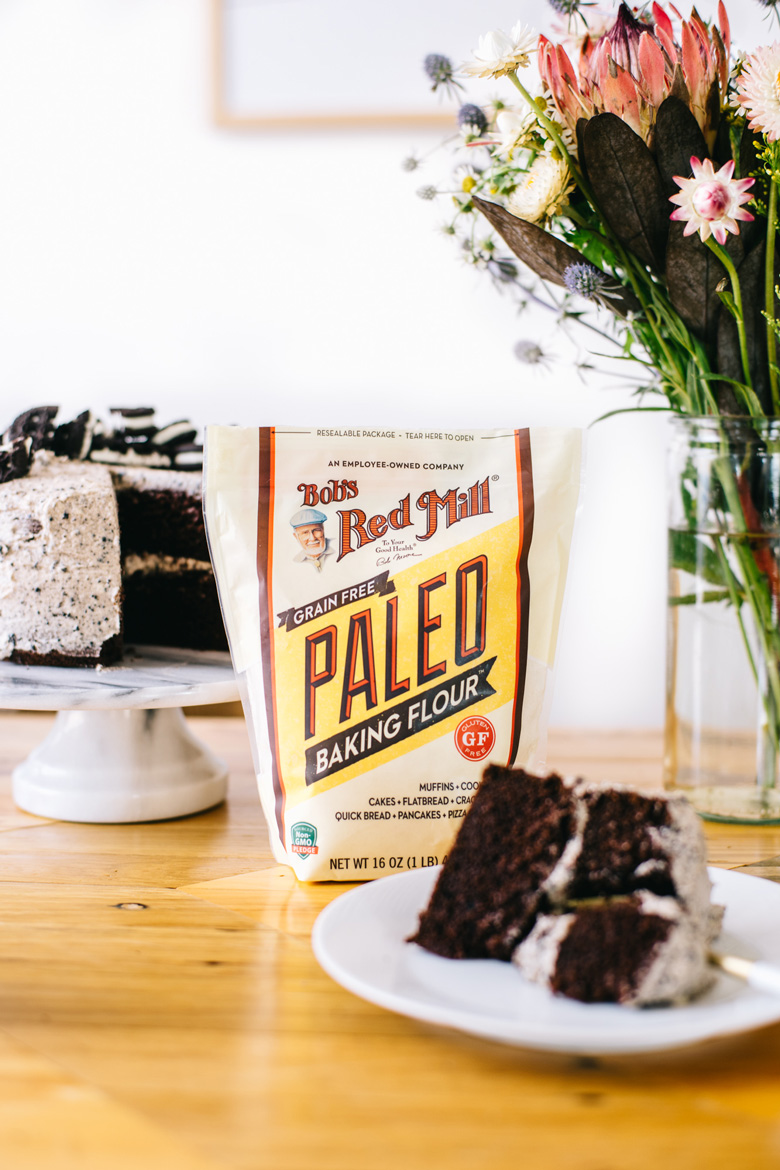 grain free oreo cake made with Bob's Red Mill Paleo Flour