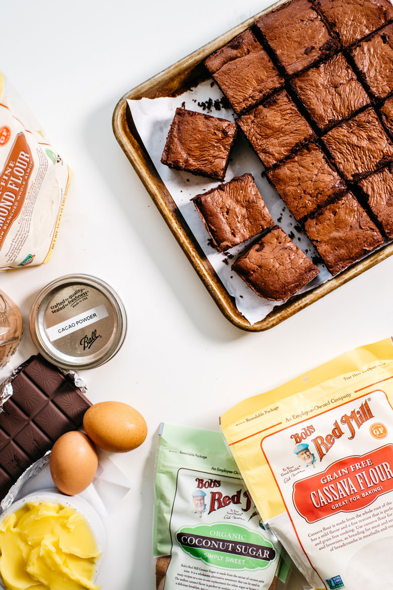 Fudgy Grain Free Brownies made with Bob's Red Mill Almond Flour, Cassava Flour and Coconut Sugar