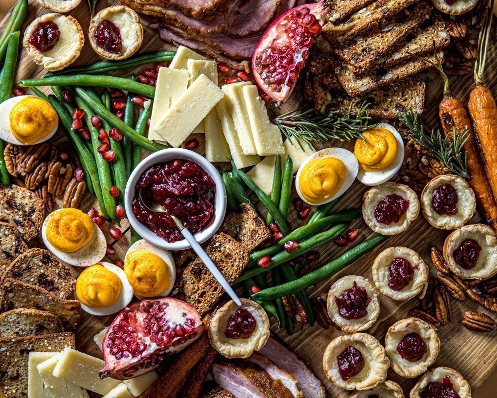 Holiday Dinner Board with Aged Cheddar-Cranberry Bites