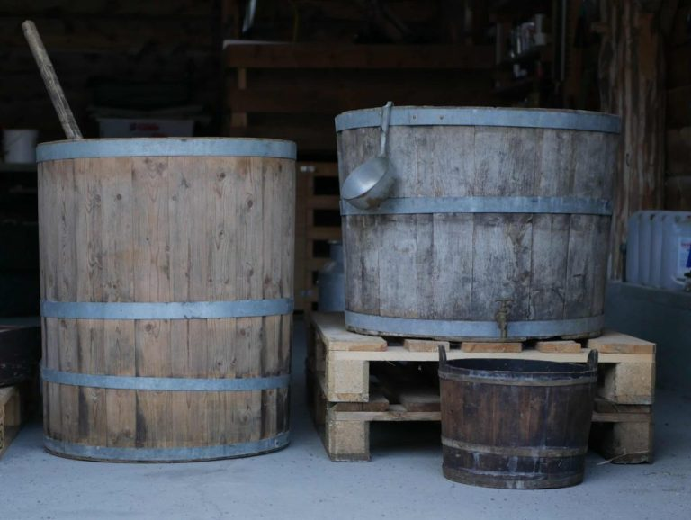Old wooden farmhouse brewing vats