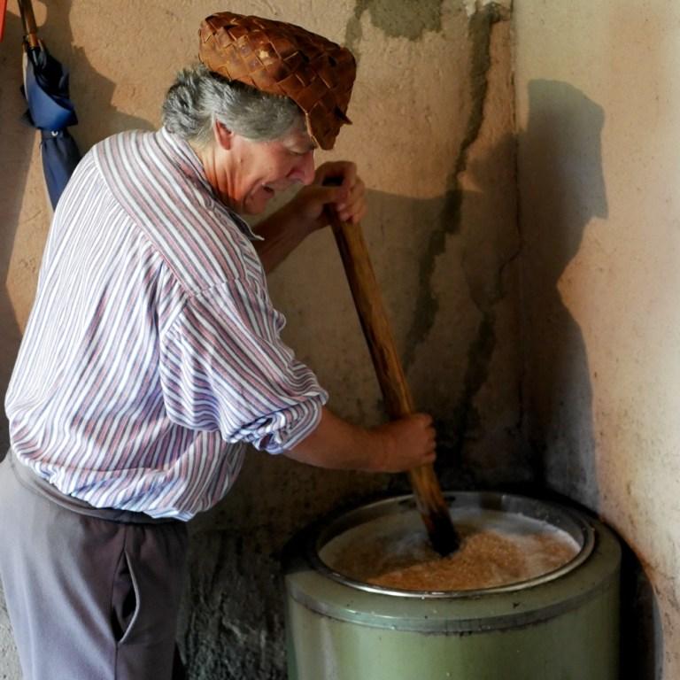 Seppo Lisma brewing traditional sahti in Sauna