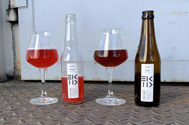 Brom and Eldr, tart oak-aged raw ales from Eik & Tid brewery.