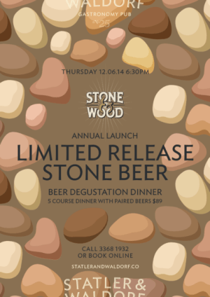Event poster for StatlerandWaldorf Stone Beer Dinner, June 2014