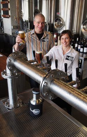 Richard Watkins and Tracy Margrain celebrate the opening of BentSpoke Brewing Co