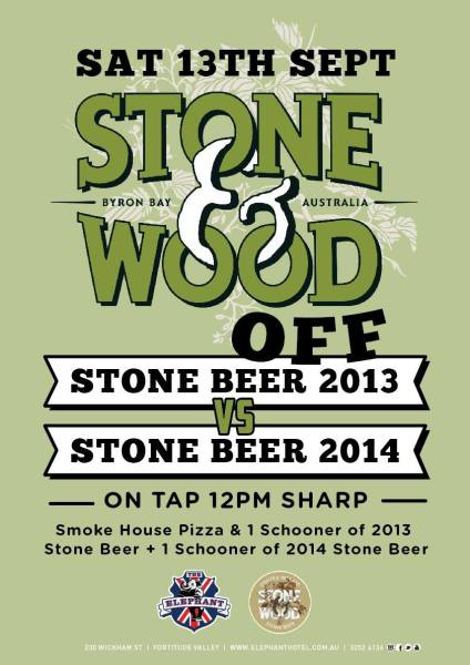Event poster for Stone & Wood Off on Saturday 13 September 2014
