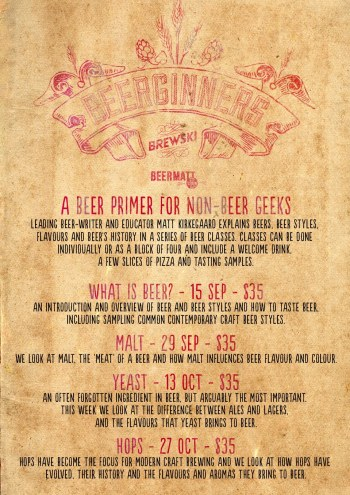 Event poster for Beerginners classes at Brewski