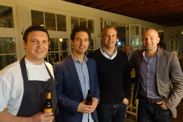 L-R: Chiswick chef Richie Dolan and sommelier Matt Dunne with Eden Road's Nick Spencer and Andy Stewart of Endeavour