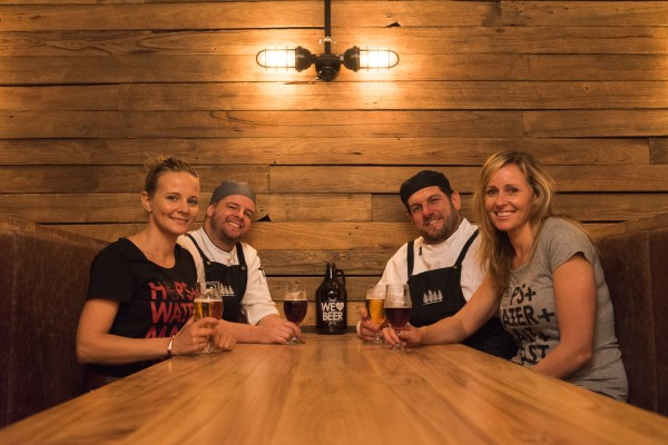 4 Pines' Sheree Mitchell with chefs Pablo and Rob and Underground manager Sarah