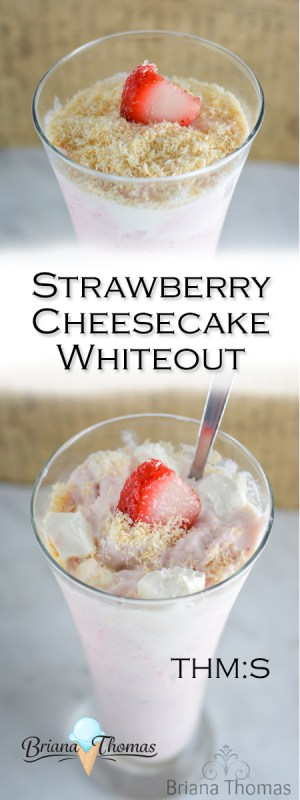 This Strawberry Cheesecake Whiteout is my healthy version of the Strawberry Cheesequake Blizzard from DQ! THM:S, low carb, sugar free, and gluten/nut free.