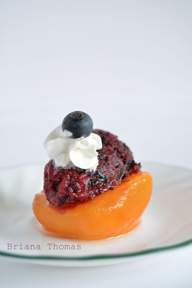 Berry Lime Sorbet over Peaches