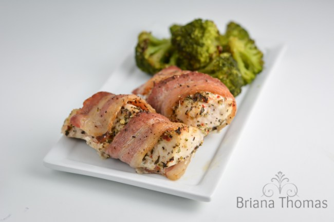 Bacon Wrapped Mediterranean Chicken