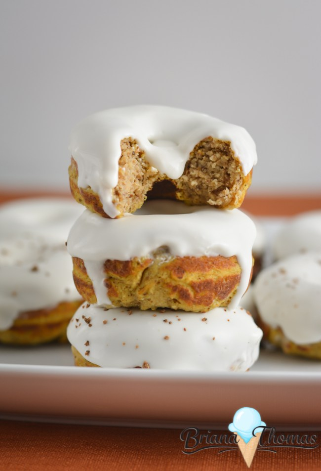 These yummy pumpkin donuts are THM:S, low carb, and gluten/nut free. WIth a unique cream cheese/coconut oil glaze, they're sure to please!