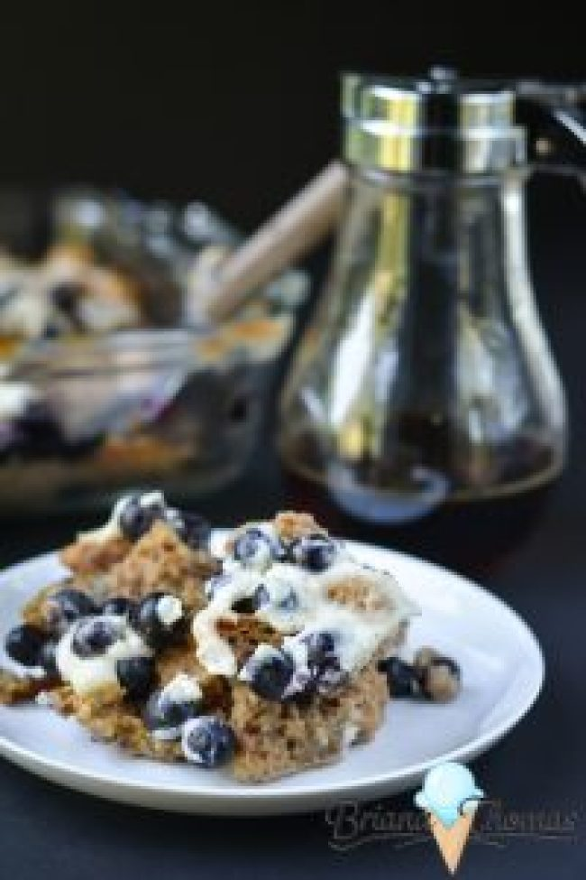 French toast casserole briana thomas this french toast casserole is topped with blueberries and cream cheese and it falls into ccuart Image collections