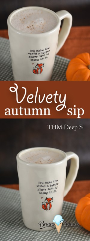 This Velvety Autumn Sip combines some unique elements for a flavorful hot drink. THM: Deep S, low carb, sugar free, gluten/egg free with nut free suggestion