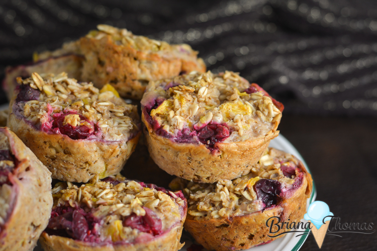 These Cranberry Orange Baked Oatmeal Muffins are great for on the go! THM:E, low fat, no sugar added, gluten/dairy free with nut free suggestion