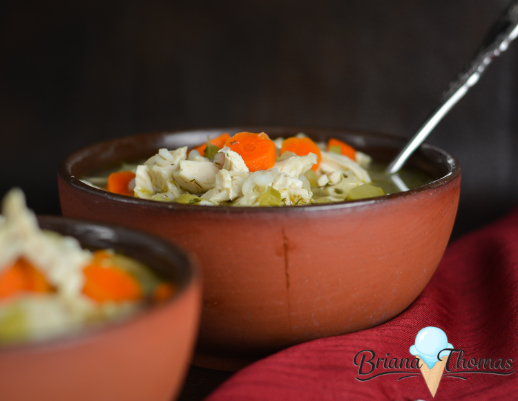 Mom's Chicken Soup is a comforting meal when you're sick - or just ready for something cozy on a cold night! THM:E, low fat, sugar free, egg/dairy/nut free