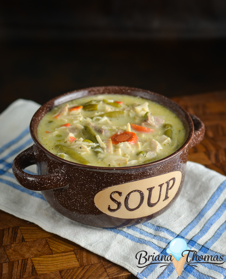This Turkey Pot Pie Chowder is a great way to use up leftover turkey from Thanksgiving or Christmas! THM:S, low carb, sugar free, gluten/egg/nut free