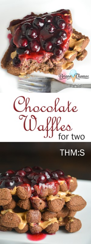 These chocolate waffles for two are delicious when topped with natural peanut butter and blueberry topping! THM:S, low carb, gluten/dairy/nut free
