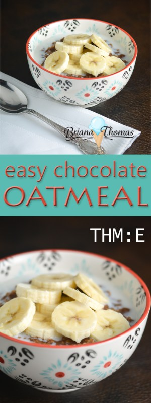 It doesn't get any easier than this: only a few ingredients are needed to make this healthy chocolate oatmeal. THM:E, low fat, gluten/egg/dairy/nut free