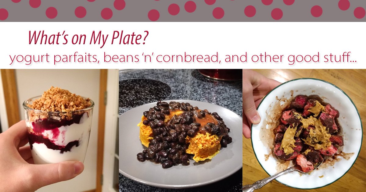 Check out this post to see what was on my plate last week! I made lots of yogurt parfaits and perfected a single-serve cornbread recipe.