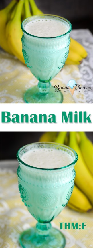 This Banana Milk makes a great pre-workout snack for extra protein and energy! THM:E, low fat, no sugar added, gluten/egg free with dairy/nut free option.