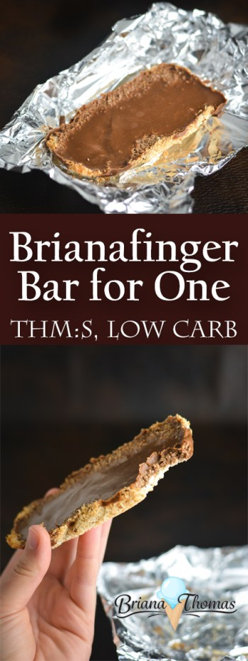 This Brianafinger Bar for One is a single-serve version of one of my most popular recipes! THM:S, low carb, sugar free, gluten/egg/dairy free