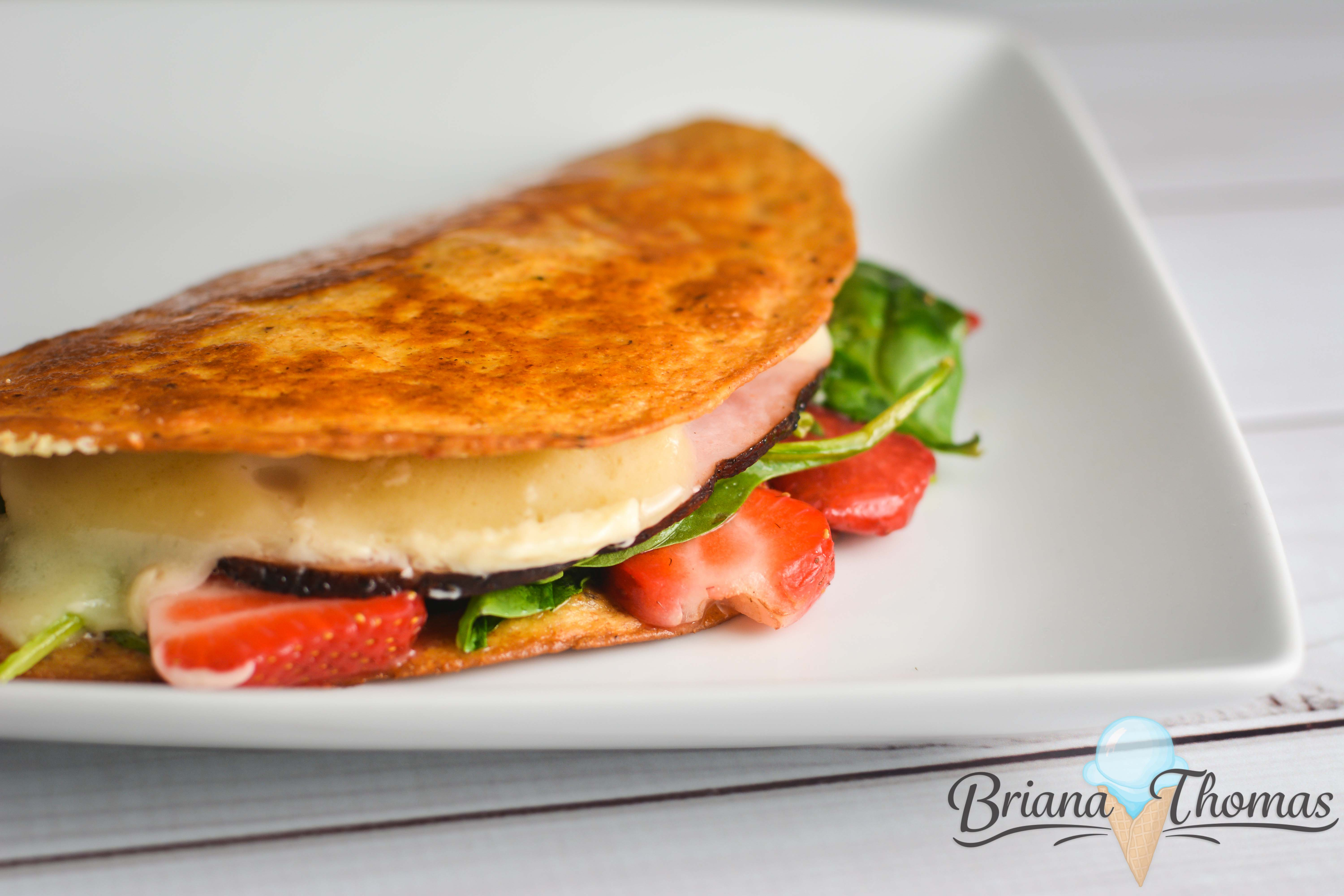 "This Strawberry Ham & Swiss Quesadilla might be on the ""unusual foods"" list, but I happen to think it's a brilliant combination! THM:S"