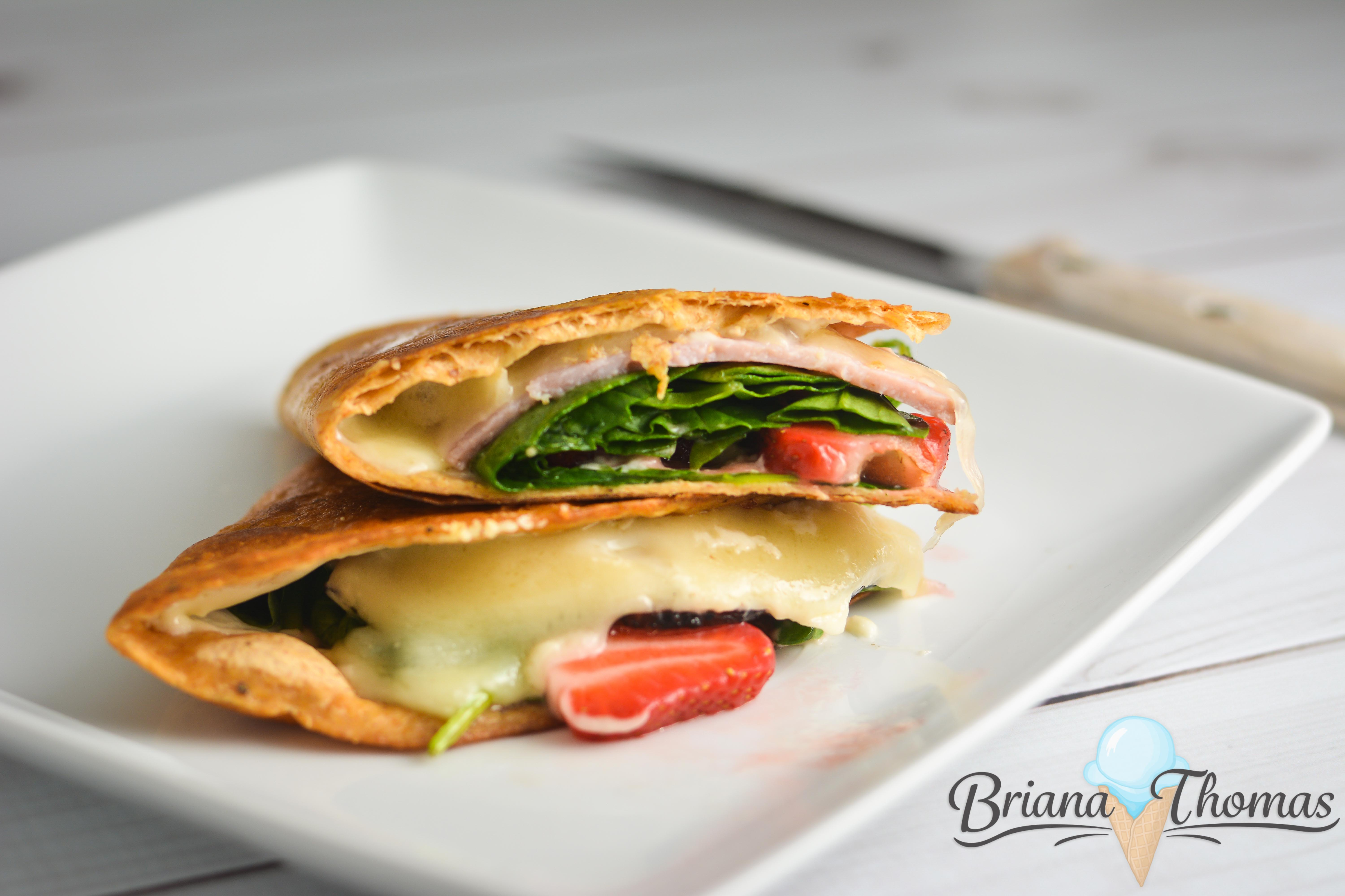 """This Strawberry Ham & Swiss Quesadilla might be on the """"unusual foods"""" list, but I happen to think it's a brilliant combination! THM:S"""
