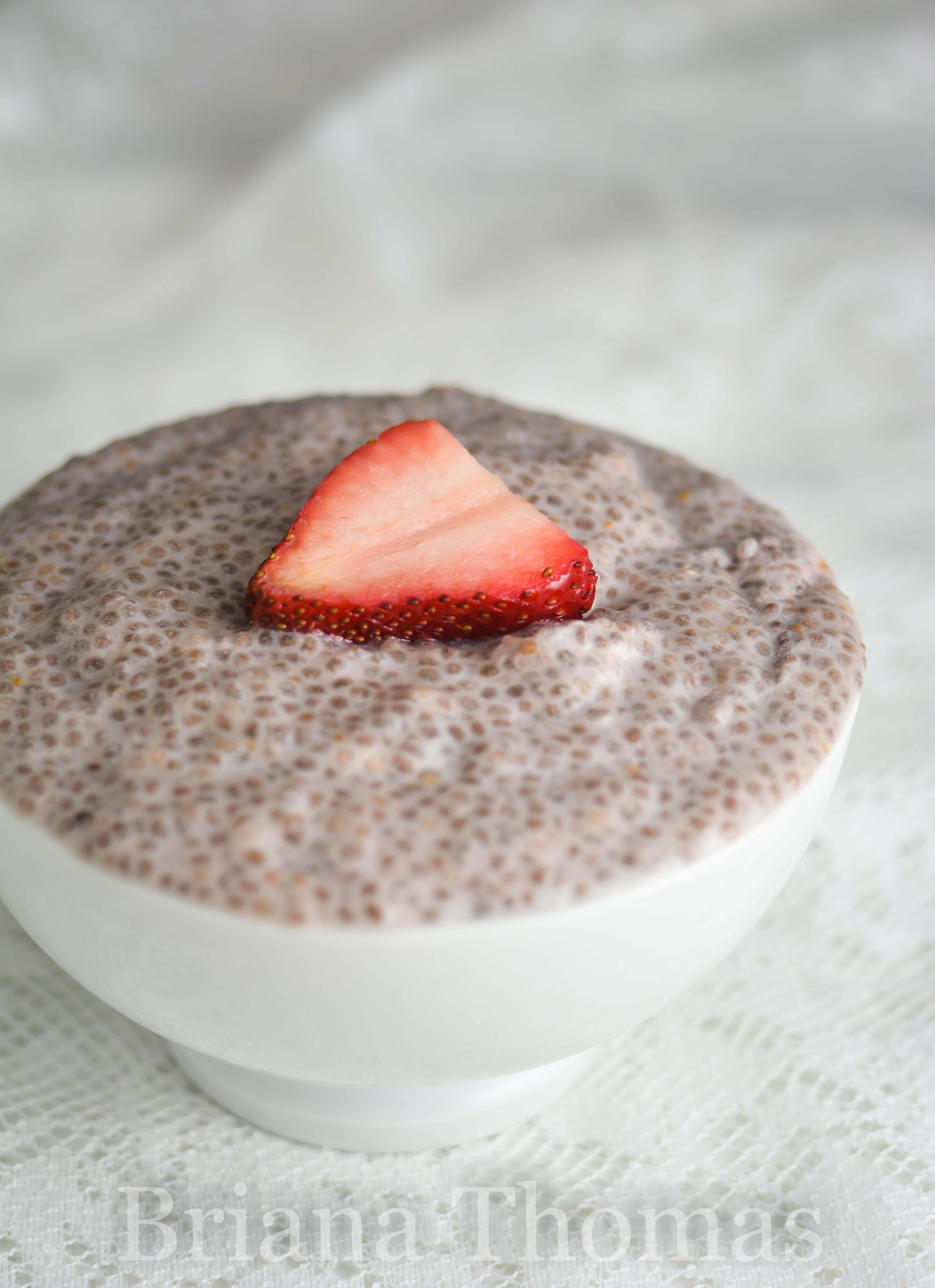 """This Dairy-Free Strawberry Chia """"Tapioca"""" makes a great breakfast, snack, or dessert! THM:S, low carb, sugar free, gluten/egg/dairy free, nut free option"""