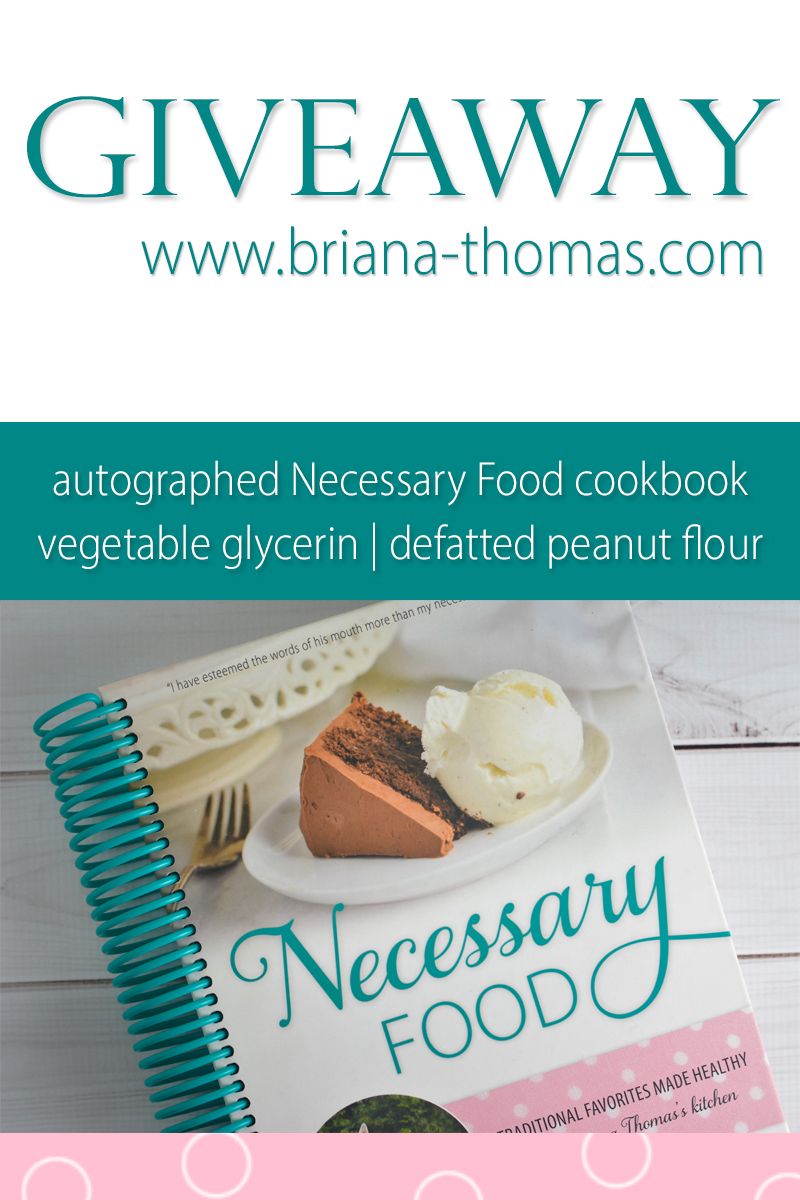 Just for fun, I'm doing a random giveaway! Enter to win a copy of Necessary Food (my low-glycemic cookbook), defatted peanut flour, and vegetable glycerin!