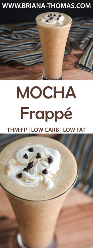 This Low-Carb Mocha Frappé is a healthier (and far cheaper) alternative to Starbucks! THM:FP, low fat, sugar free, gluten/egg/dairy/nut free