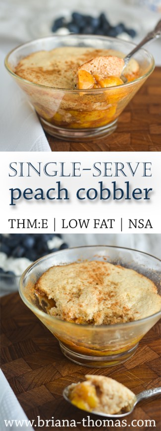 A delicious biscuit topping covers this no-sugar-added peach cobbler for one person! THM:E, low fat, gluten free, nut free