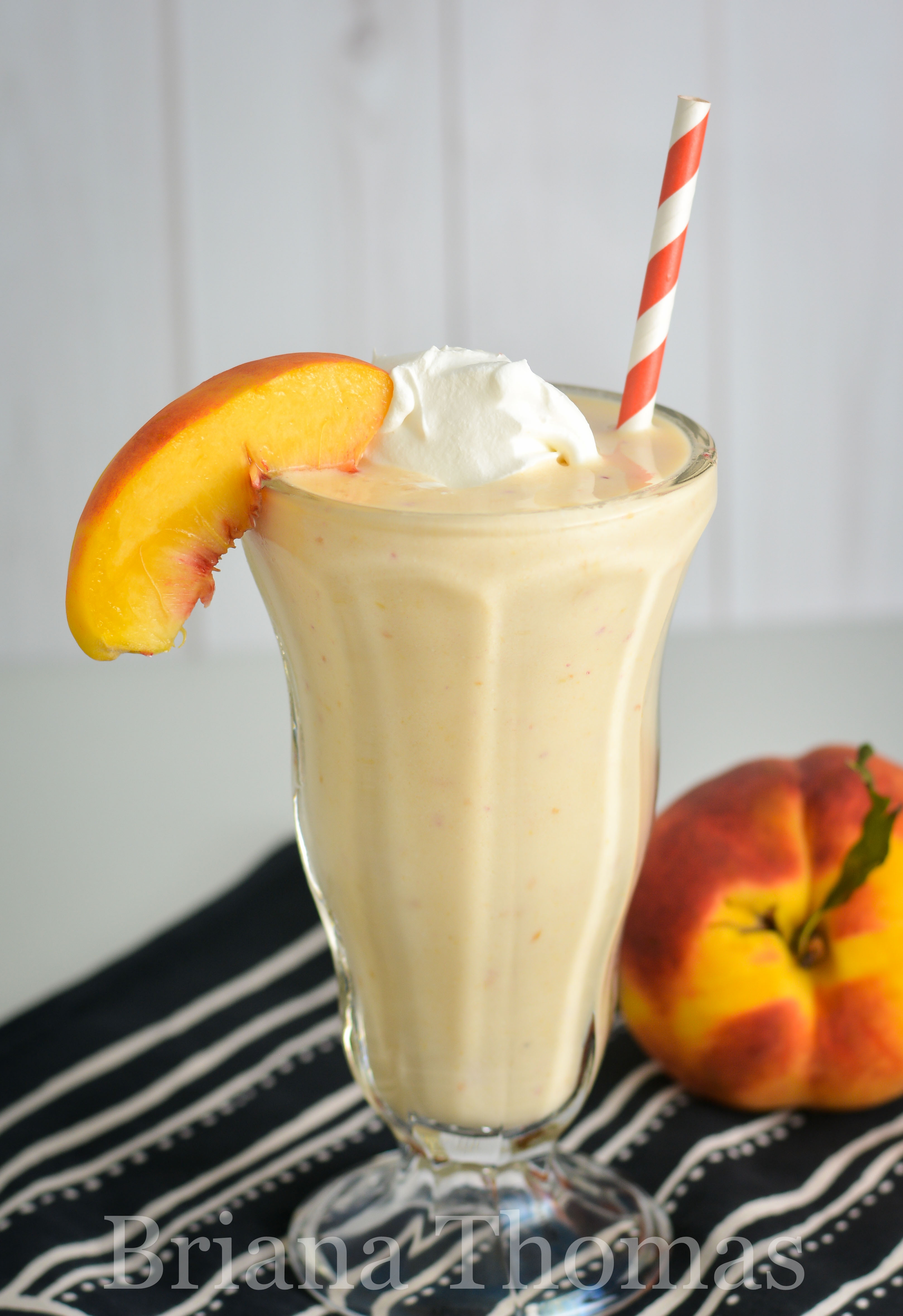 This Peach Smoothie only takes a few ingredients and makes a great light snack or dessert! THM:E, low fat, no sugar added, gluten free, egg free, nut free