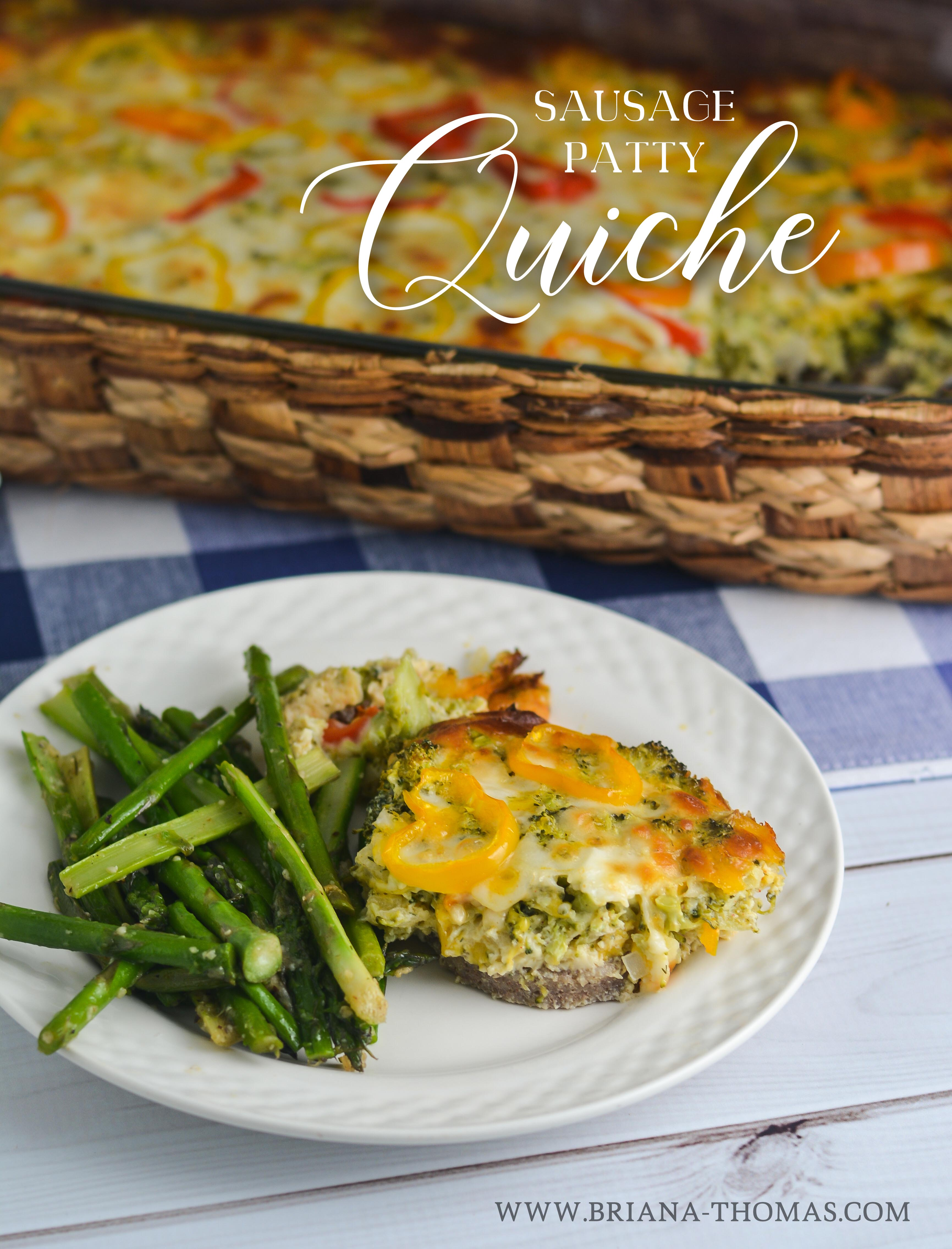 This Sausage Patty Quiche uses simple, cheap ingredients and comes together in a snap! THM:S, low carb, gluten free, nut free