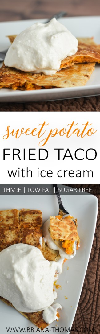 This Sweet Potato Fried Taco with Ice Cream is a THM:E version of Bojangles's sweet potato pie! Classic South. Low fat, sugar free, egg/nut free