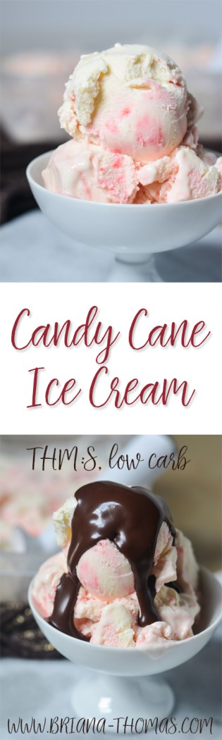 This delicious Candy Cane Ice Cream has a delicious pepperminty flavor and pairs perfectly with hot fudge sauce! THM:S, sugar free, low carb, gluten free