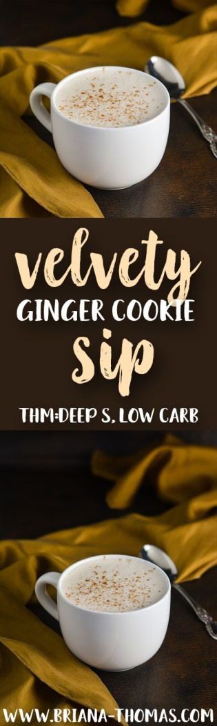 This Velvety Ginger Cookie Sip is so warming and perfectly spiced and creamy! THM: Deep S, low carb, sugar free, gluten/egg free with dairy/nut free options