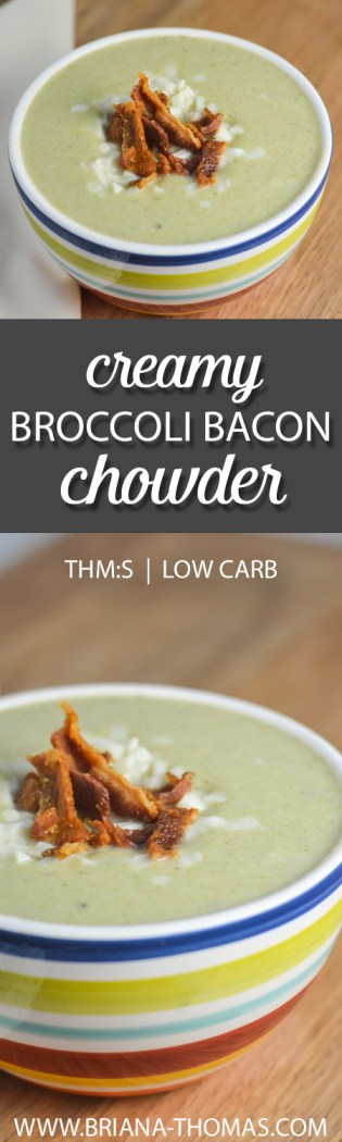 This deliciously Creamy Broccoli Bacon Chowder is comfort food in a bowl! THM:S, low carb, gluten/egg/nut free - and BACON, of course!