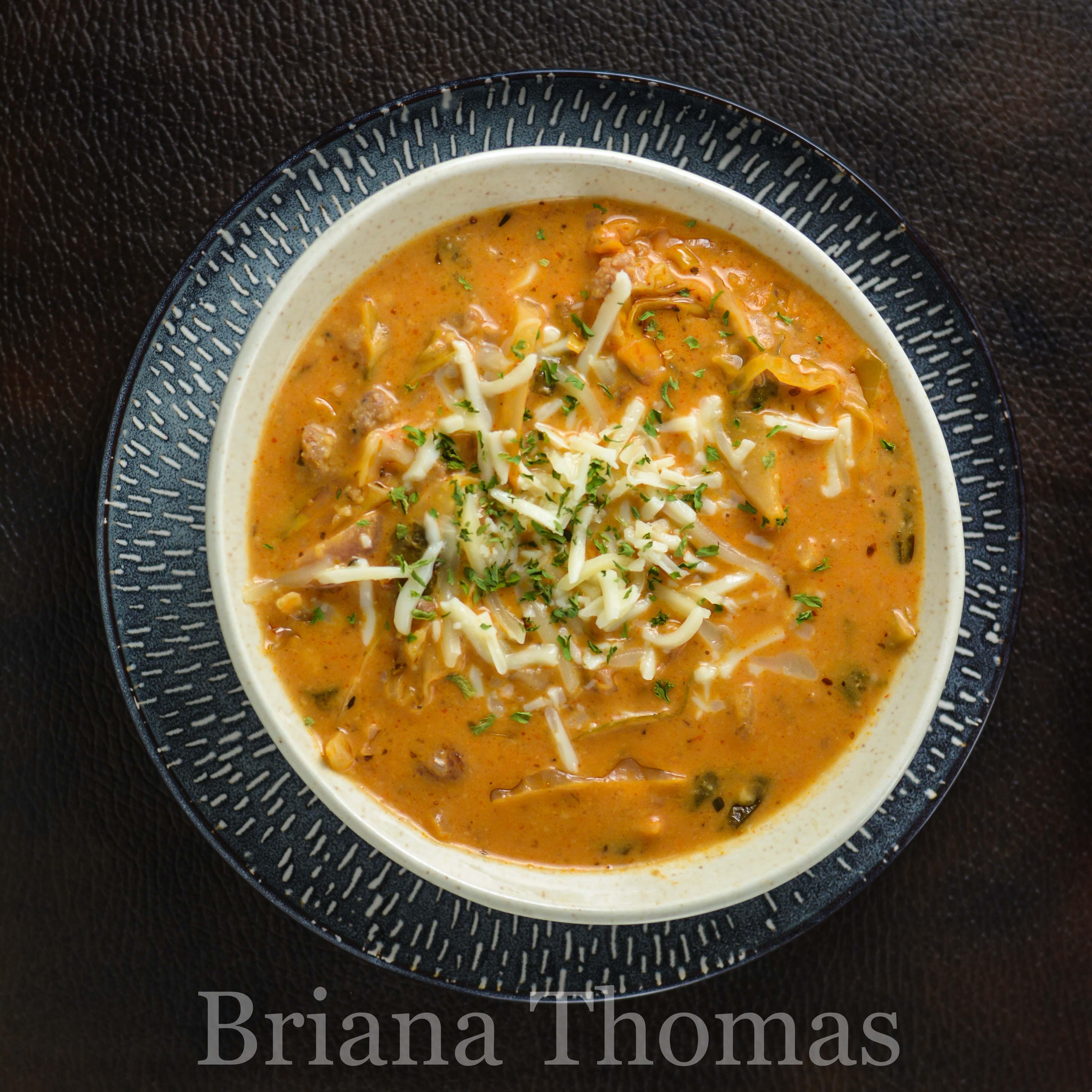 low carb lasagna soup thm s super filling and budget friendly