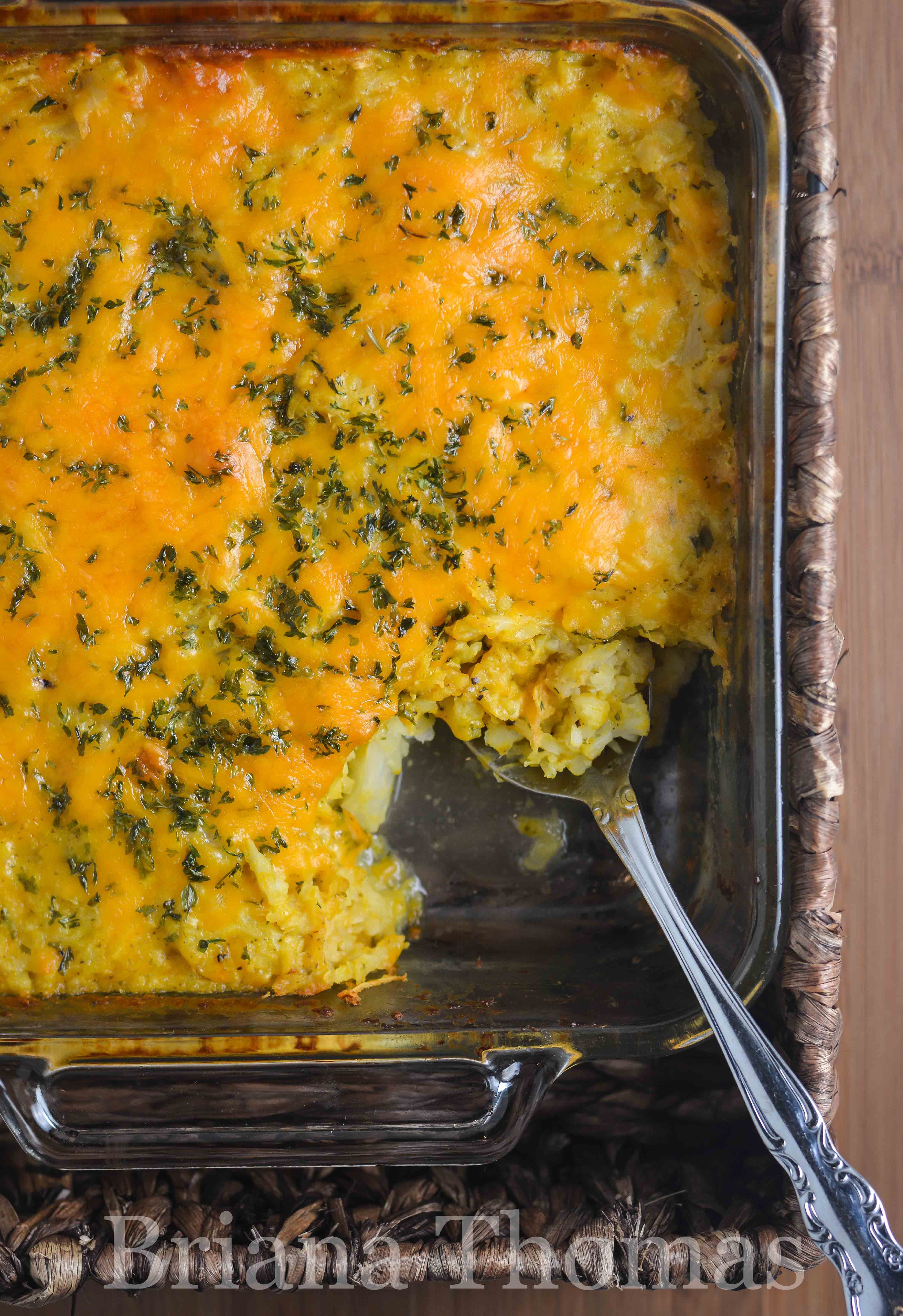 """A surprising secret ingredient helped me create a low-carb version of my mom's party potatoes! These Cheesy Party """"Potatoes"""" are THM:S and gluten/egg free."""