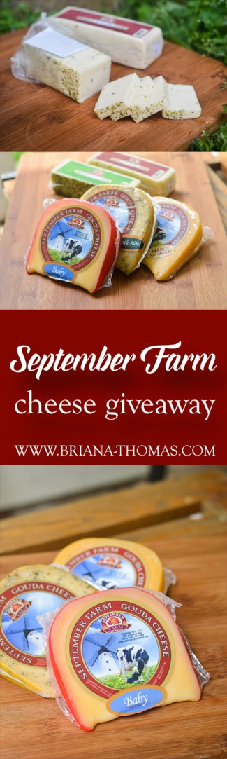 Check out this post to learn more about September Farm Cheese and enter the giveaway for a Small Sampler! You'll receive 3 8-oz. packages of handcrafted cheese, 8 oz. Lebanon Bologna, and a September Farm cheese wire!