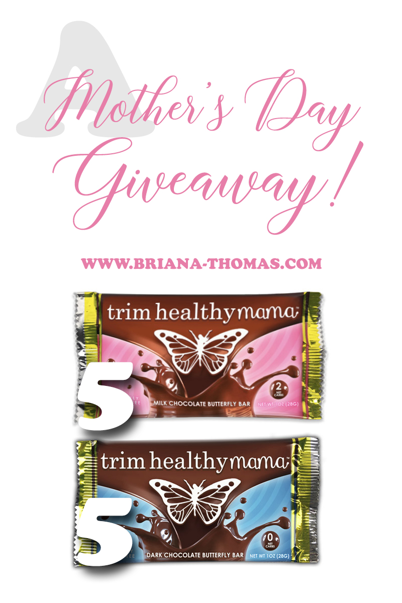 Check out this post to participate in a THM chocolate bar giveaway in honor of Mother's Day! Also, my cookbook (Necessary Food) is on sale at 15% off through May 14th, 2018!