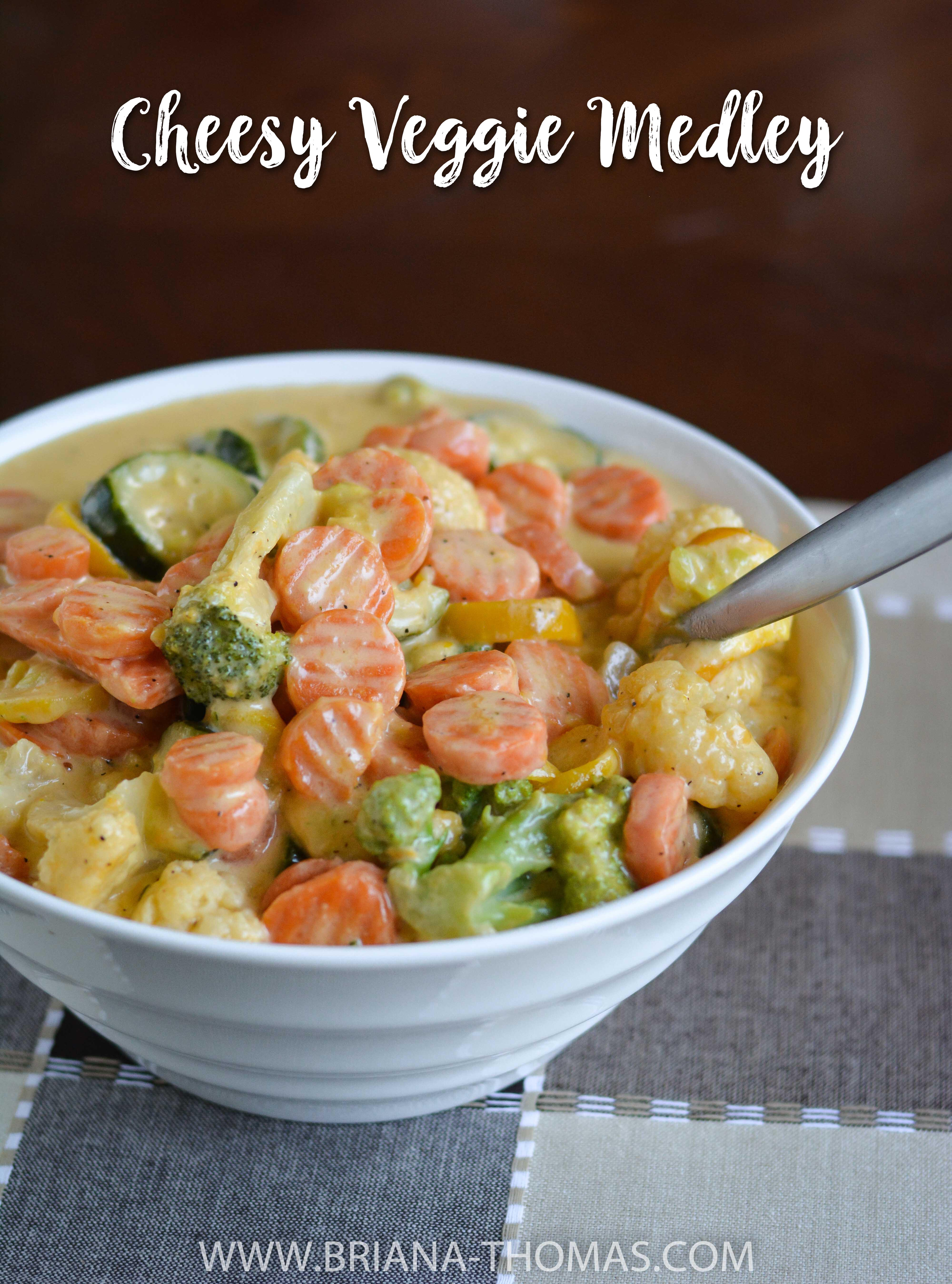 This Cheesy Veggie Medley has a Velveeta-like cheese sauce and reheats beautifully! Perfect for company. THM S, low carb, gluten free
