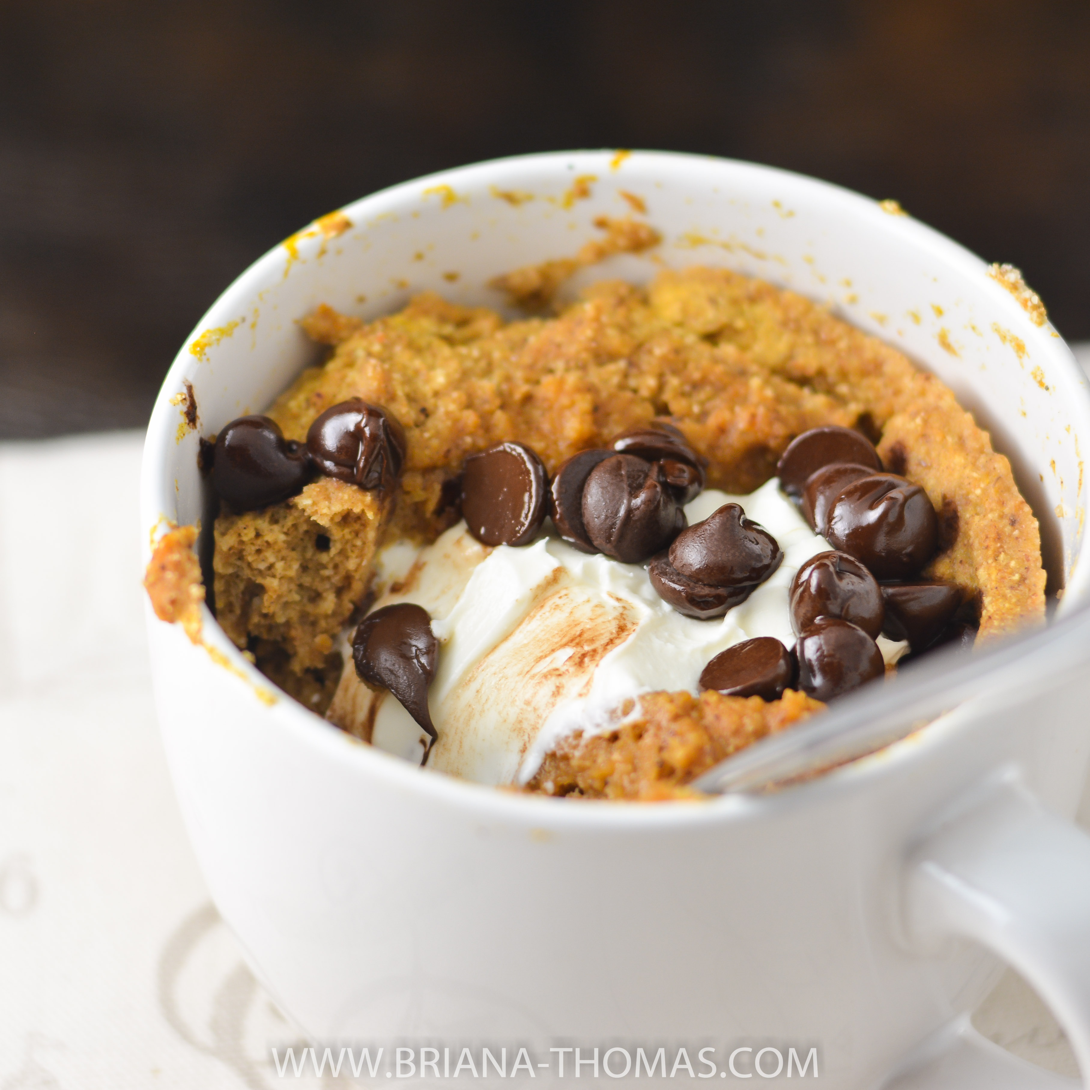 This Pumpkin Cream Cheese Chocolate Chip Mug Cake for One is so easy to make! THM S, low carb, sugar free, gluten free, nut free