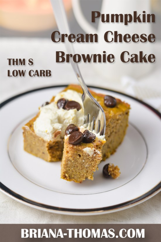 This Pumpkin Cream Cheese Brownie Cake is very moist, like the inside of a pumpkin pie in cake form! THM S, low carb, no sugar added, gluten/nut free