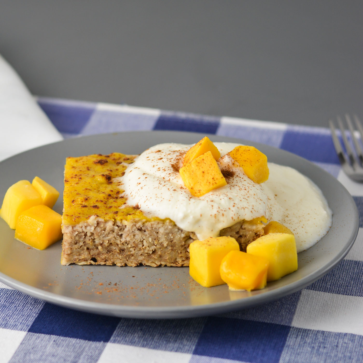 Mango Baked Oatmeal (Or Mango Ginger Cardamom Oat Cake, if you prefer)   THM E, No Sugar Added, Low Fat, Gluten Free, Dairy Free