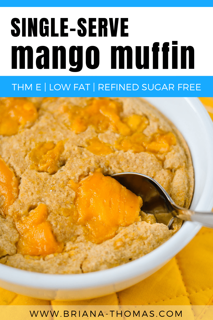 This Single-Serve Mango Muffin makes a great breakfast, snack, or THM E dessert! Trim Healthy Mama, refined sugar free, gluten free, dairy free, nut free