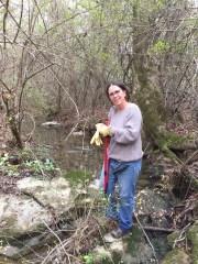 Karen Allen Pausing before jumping creek