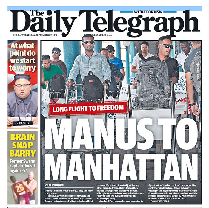 Armani Refugees - Daily Telegraph - Manus Island refugees fly to the US - image by Brian Cassey