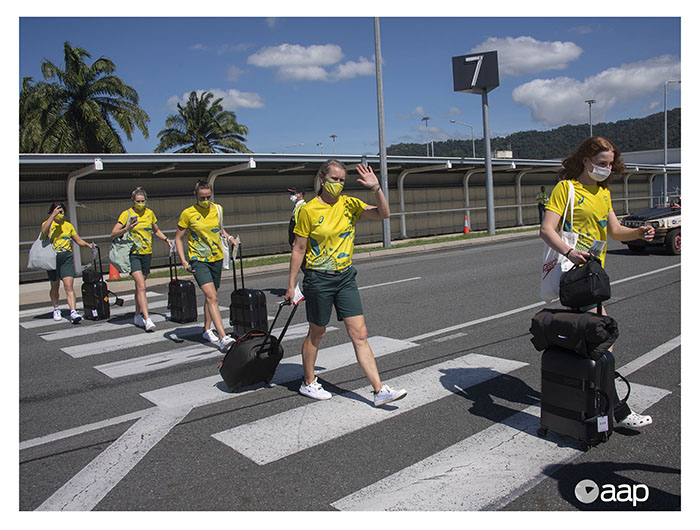 The Australian Olympic team departs Cairns for the Tokyo 2021 Games - Images by Brian Cassey for AAP